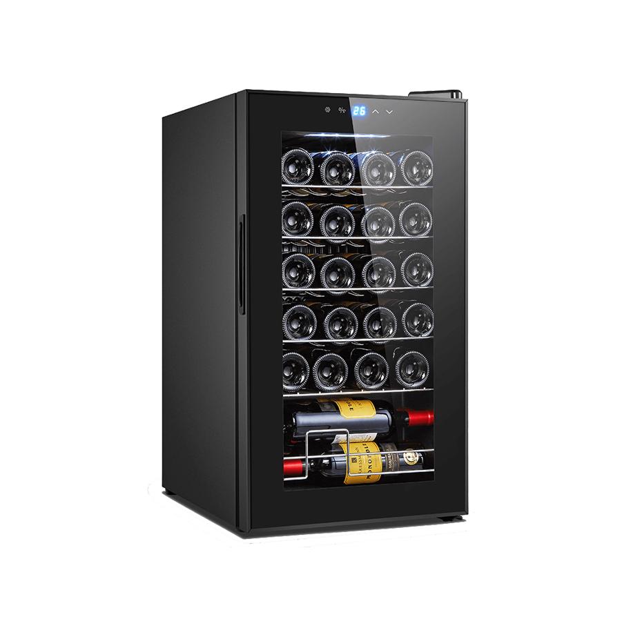 מקרר יין ל 24 בקבוקים פועל באמצעות מדחס שקט ואיכותי Landers לנדרס
