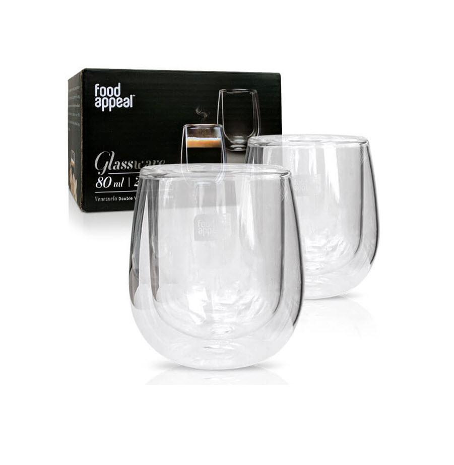 זוג כוסות אספרסו זכוכית מבית food appeal פוד אפיל