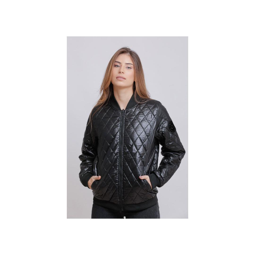 מעיל בומבר דו-צדדי לנשים עם לוגו בצד השרוול Calvin Klein קלווין קליין
