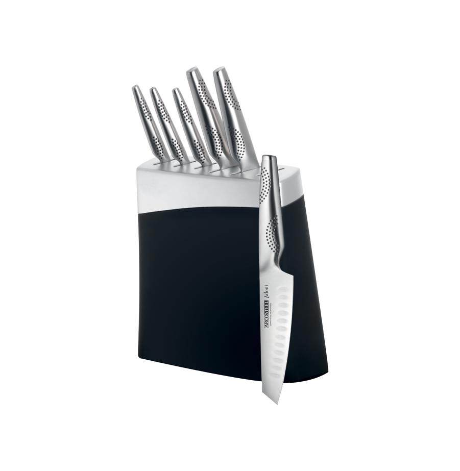 סט 6 סכינים ובלוק שחור מסדרת מאיר אדוני ARCOSTEEL Adoni