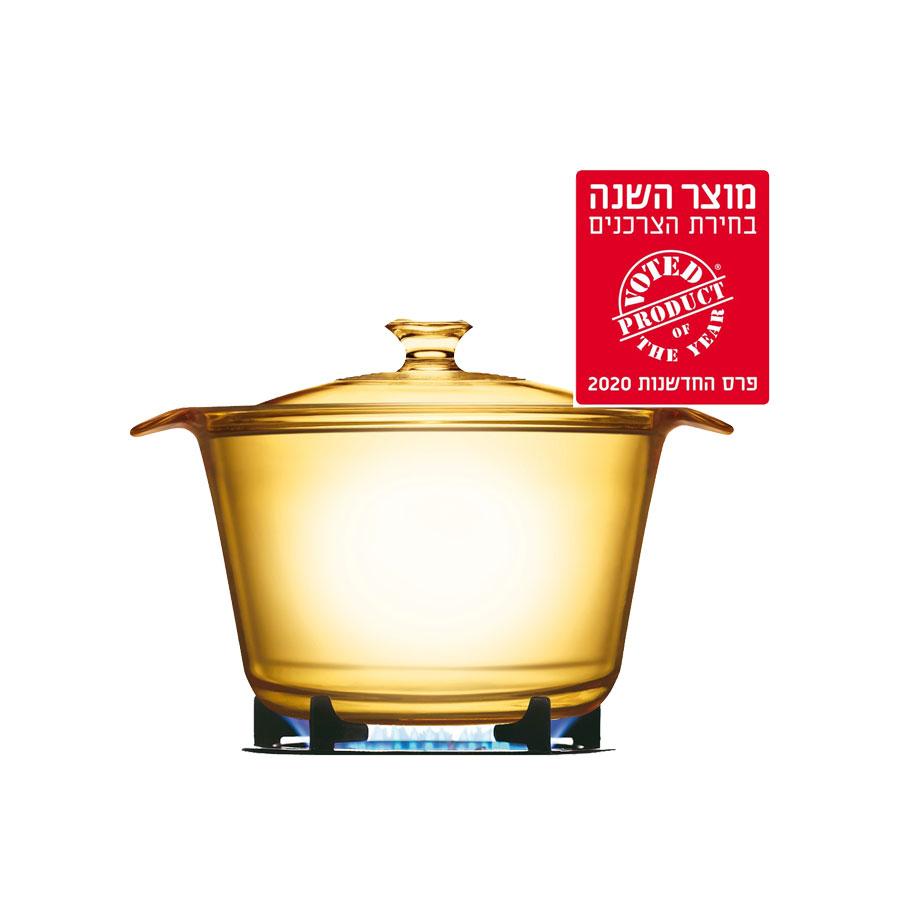 סיר זכוכית 3.8 ליטר + מכסה מסדרת Visions Flair של CORELLE קורל