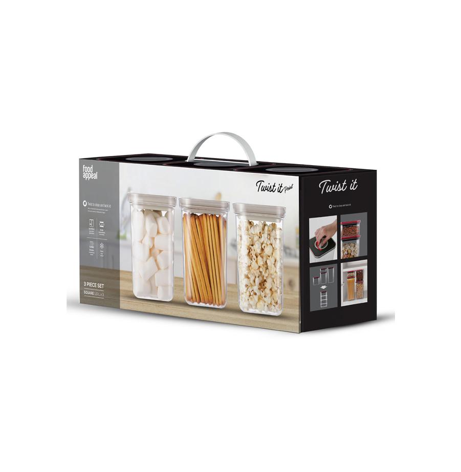 סט 3 קופסאות איחסון בטכנולוגיית Twist It בנפח 1 ליטר food appeal פוד אפיל
