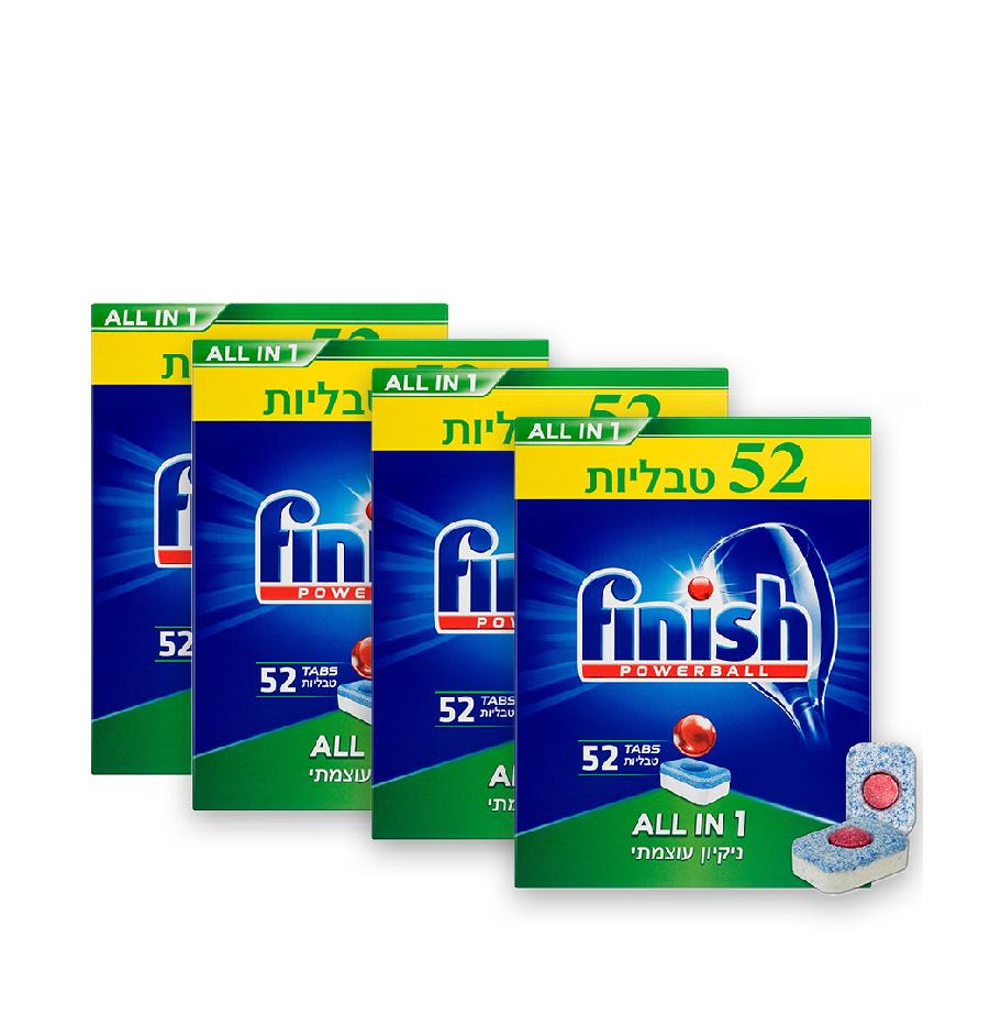 4 מארזים - טבליות למדיח הכלים AIO מבית Finish פיניש
